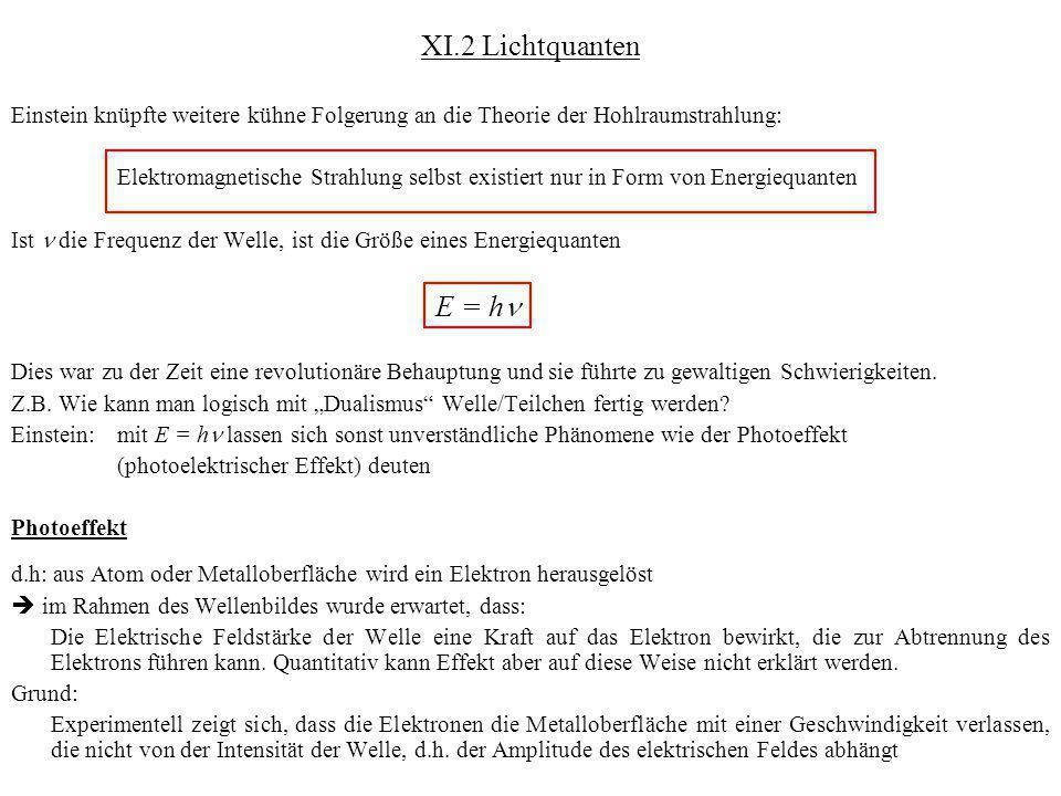 XI.2 Lichtquanten Einstein knüpfte weitere kühne Folgerung an die Theorie der Hohlraumstrahlung: