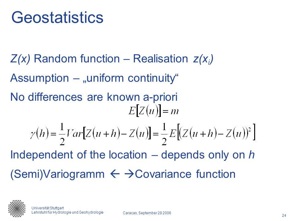 Geostatistics Z(x) Random function – Realisation z(xi)