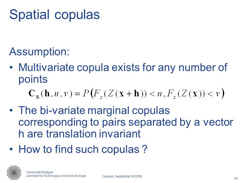 Spatial copulas Assumption: