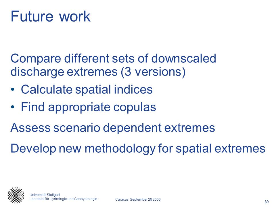 Future work Compare different sets of downscaled discharge extremes (3 versions) Calculate spatial indices.