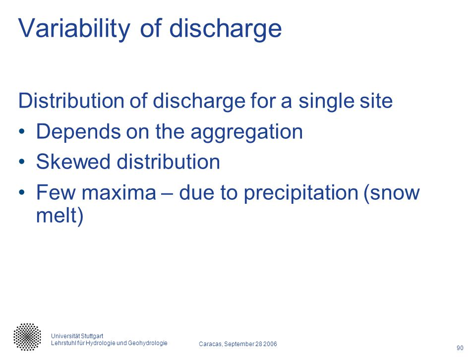 Variability of discharge
