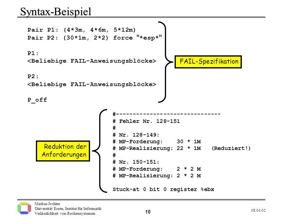 Syntax-Beispiel Pair P1: (4*3m, 4*6m, 5*12m)