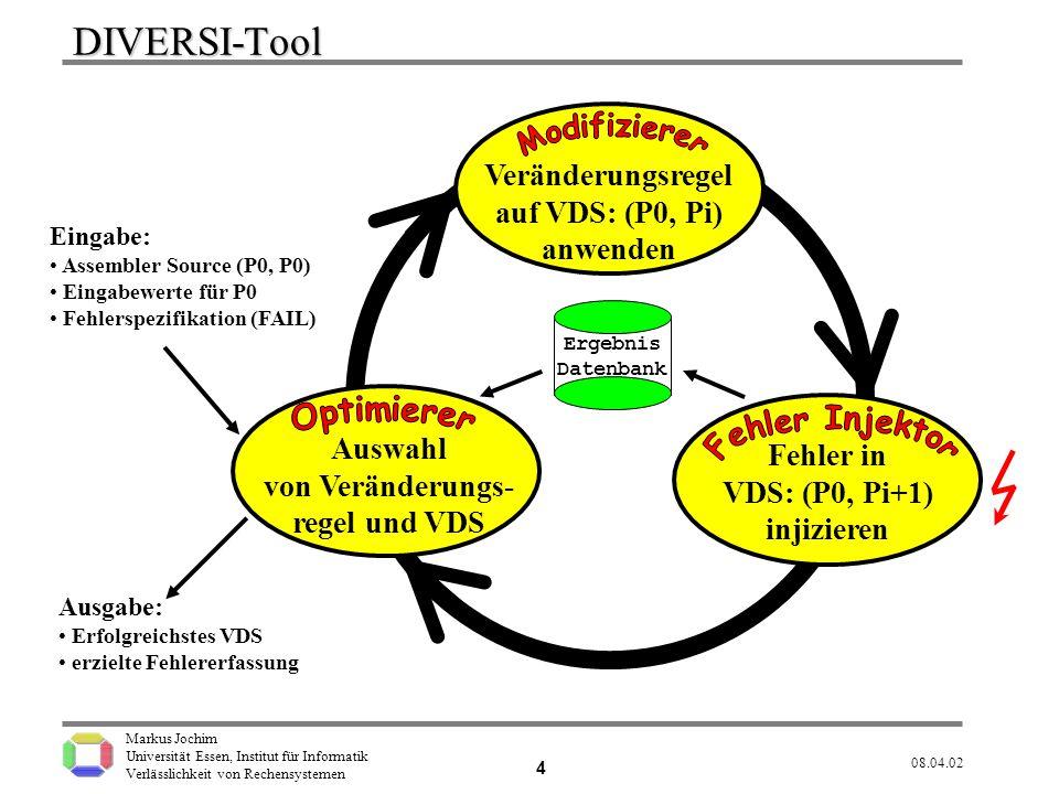 DIVERSI-Tool Veränderungsregel auf VDS: (P0, Pi) anwenden Auswahl