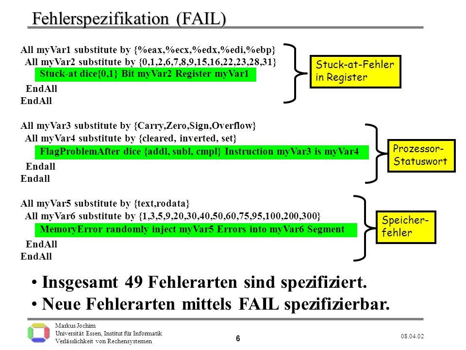 Fehlerspezifikation (FAIL)