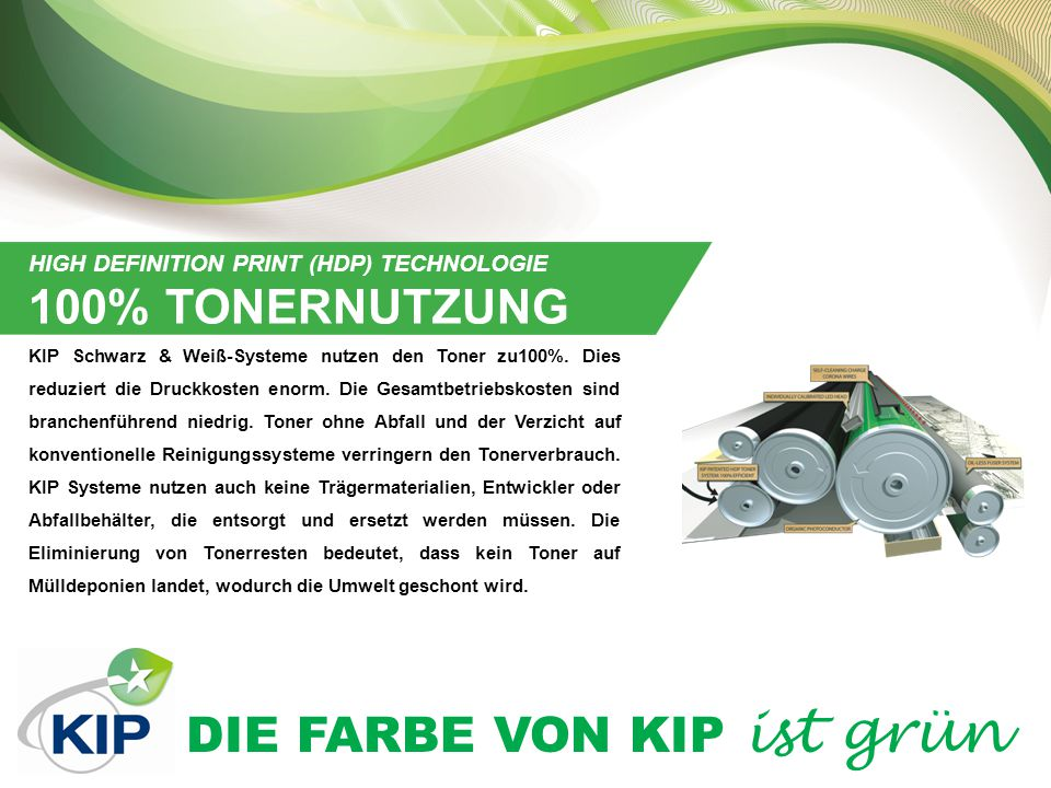 100% TONERNUTZUNG HIGH DEFINITION PRINT (HDP) TECHNOLOGIE