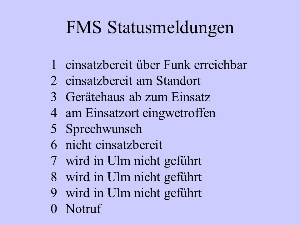 FMS Statusmeldungen einsatzbereit über Funk erreichbar