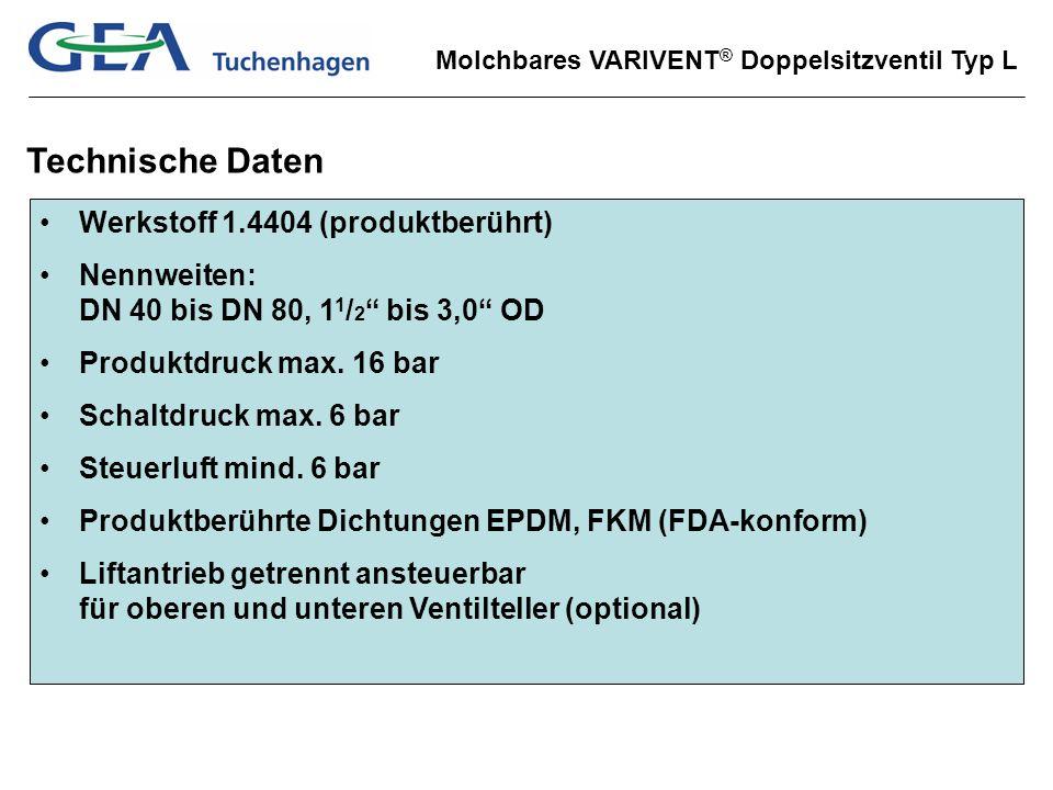 Technische Daten Werkstoff 1.4404 (produktberührt)