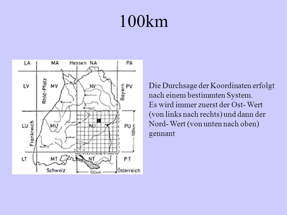 100km Die Durchsage der Koordinaten erfolgt