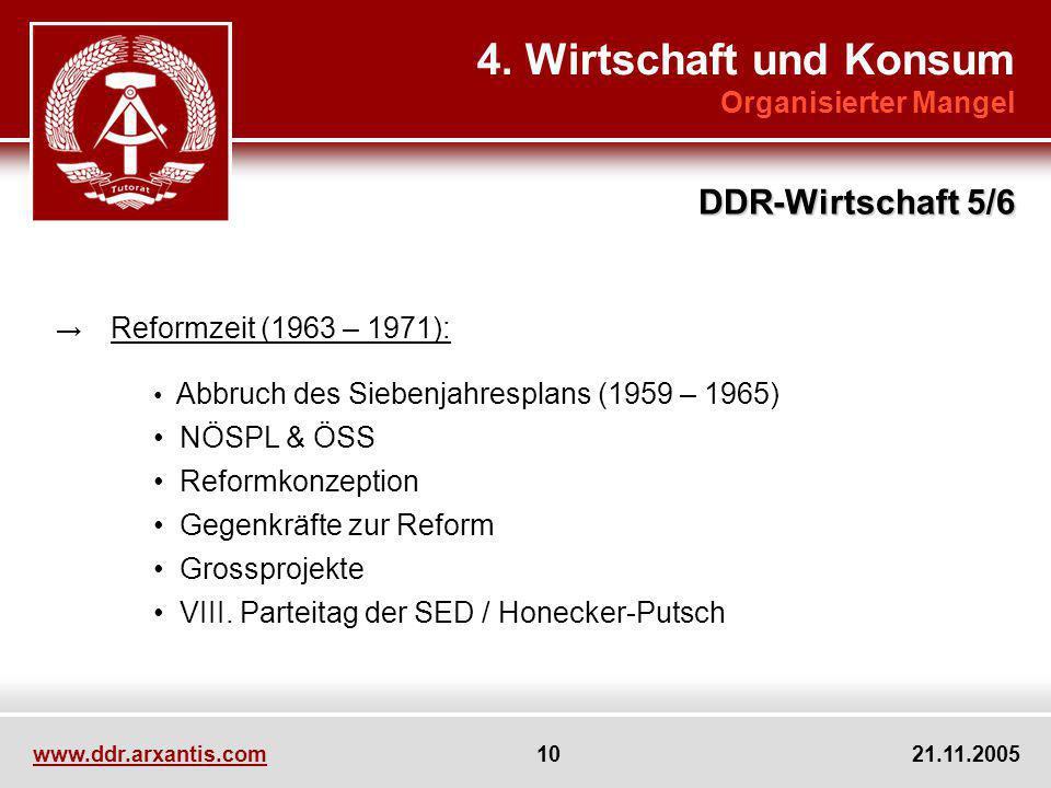 4. Wirtschaft und Konsum DDR-Wirtschaft 5/6 Organisierter Mangel