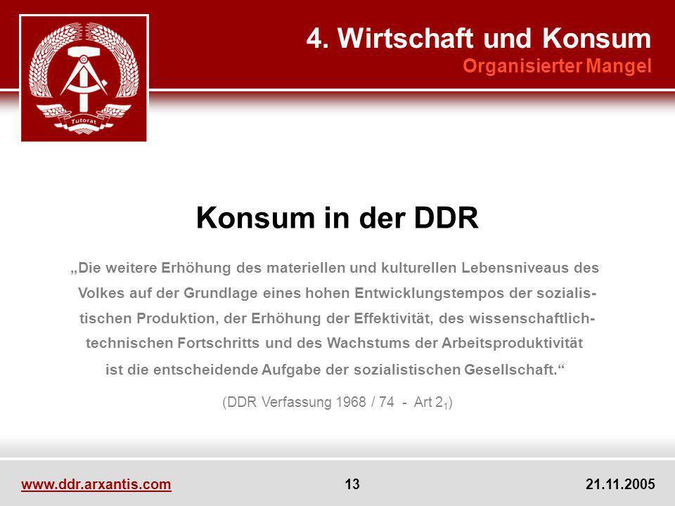 Konsum in der DDR 4. Wirtschaft und Konsum Organisierter Mangel