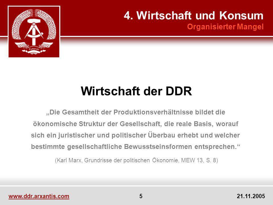 Wirtschaft der DDR 4. Wirtschaft und Konsum Organisierter Mangel