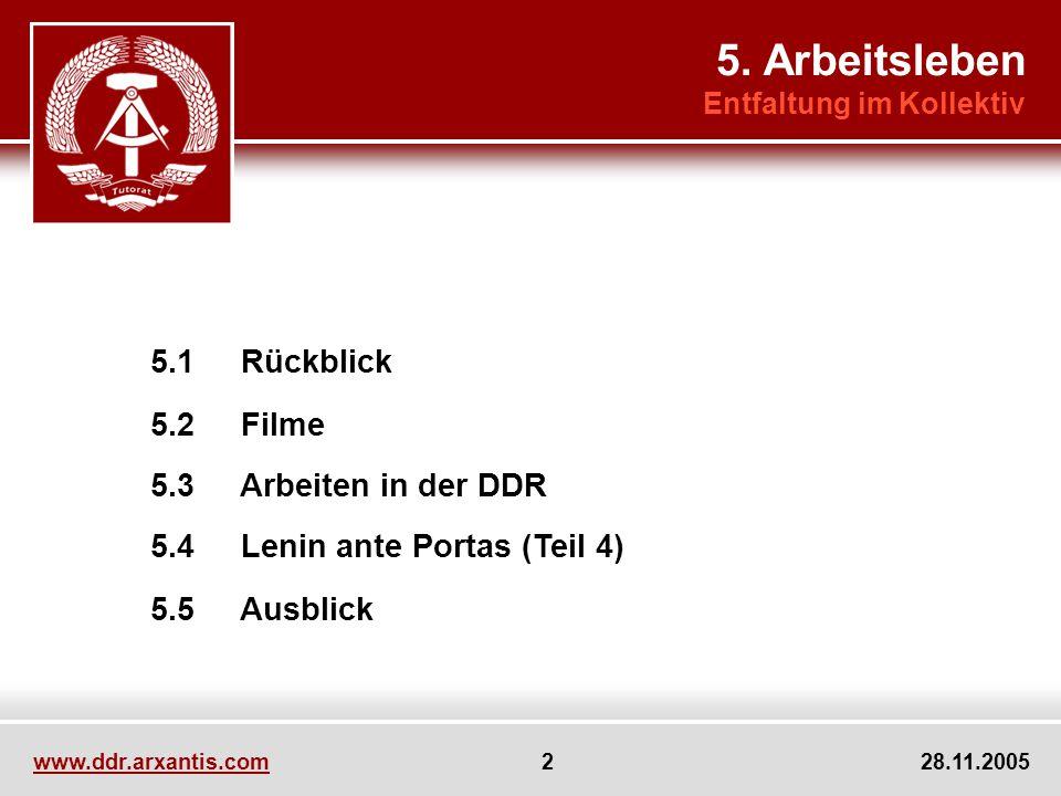 5. Arbeitsleben 5.2 Filme 5.5 Ausblick 5.3 Arbeiten in der DDR
