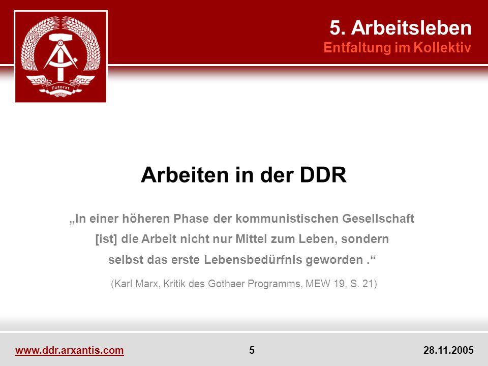 Arbeiten in der DDR 5. Arbeitsleben Entfaltung im Kollektiv
