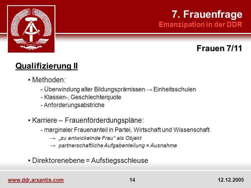 7. Frauenfrage Frauen 7/11 Qualifizierung II Emanzipation in der DDR