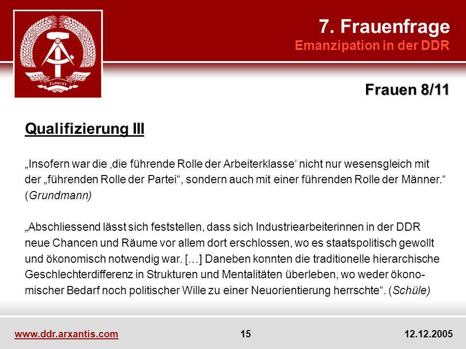 7. Frauenfrage Frauen 8/11 Qualifizierung III Emanzipation in der DDR