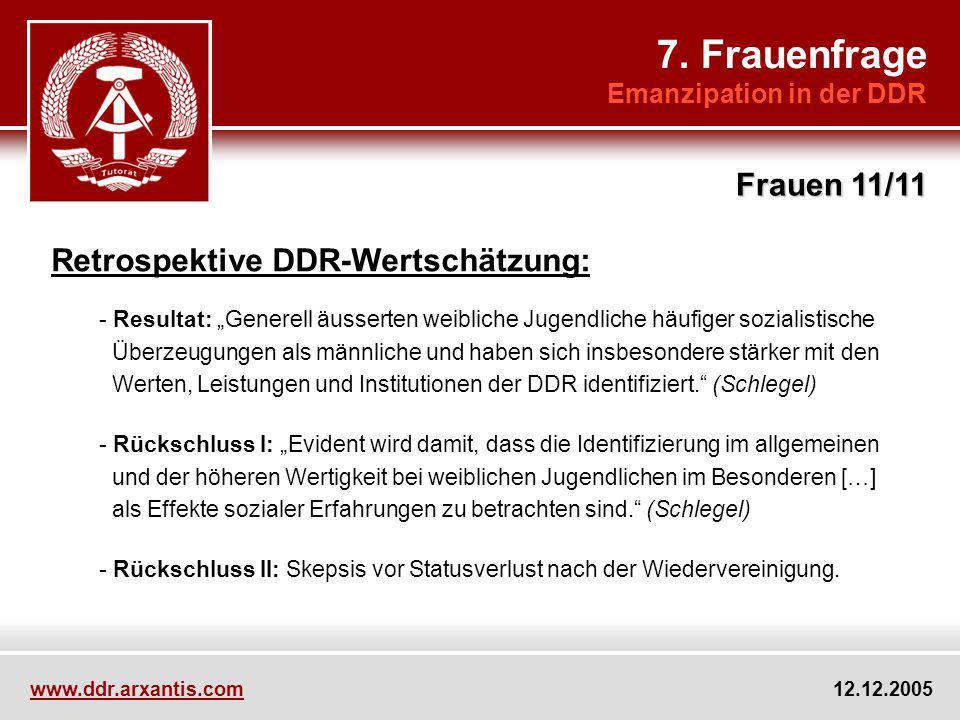 7. Frauenfrage Frauen 11/11 Retrospektive DDR-Wertschätzung: