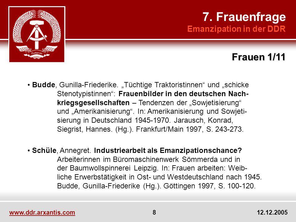 7. Frauenfrage Frauen 1/11 Emanzipation in der DDR