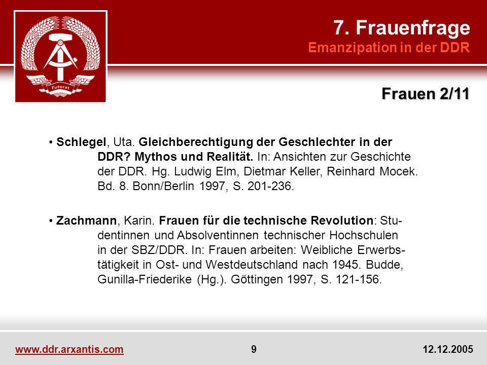 7. Frauenfrage Frauen 2/11 Emanzipation in der DDR