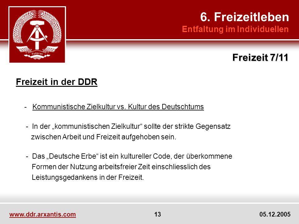 6. Freizeitleben Freizeit 7/11 Freizeit in der DDR