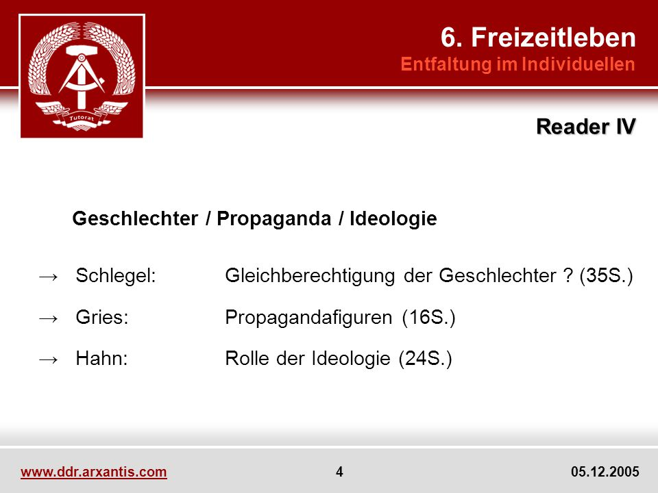 6. Freizeitleben Reader IV Geschlechter / Propaganda / Ideologie