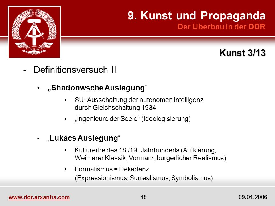 9. Kunst und Propaganda Kunst 3/13 Definitionsversuch II