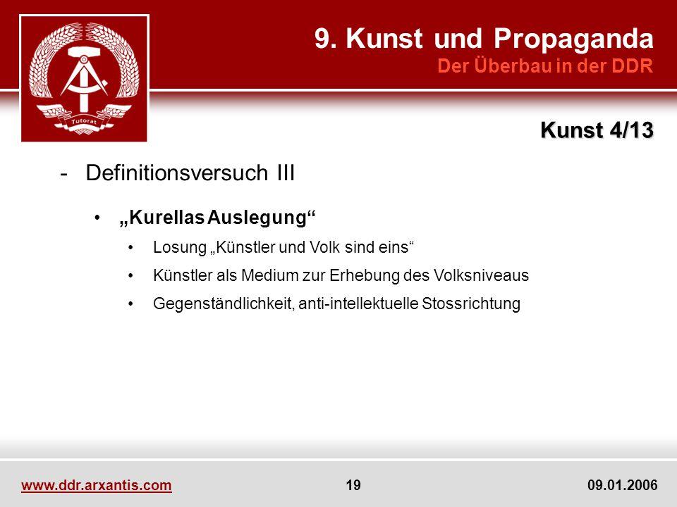 9. Kunst und Propaganda Kunst 4/13 Definitionsversuch III
