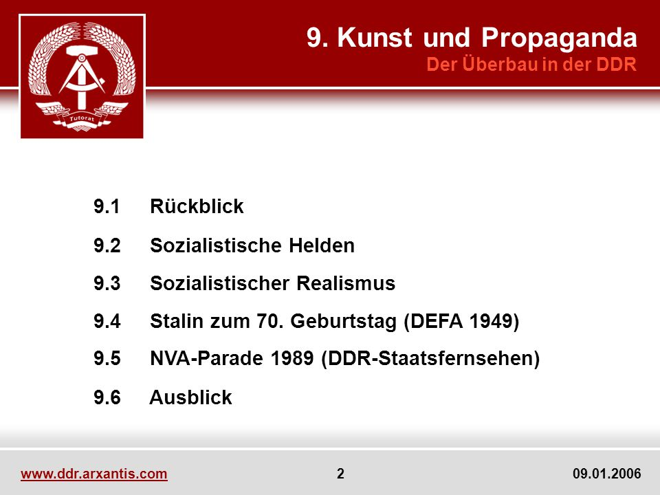 9. Kunst und Propaganda 9.2 Sozialistische Helden 9.6 Ausblick
