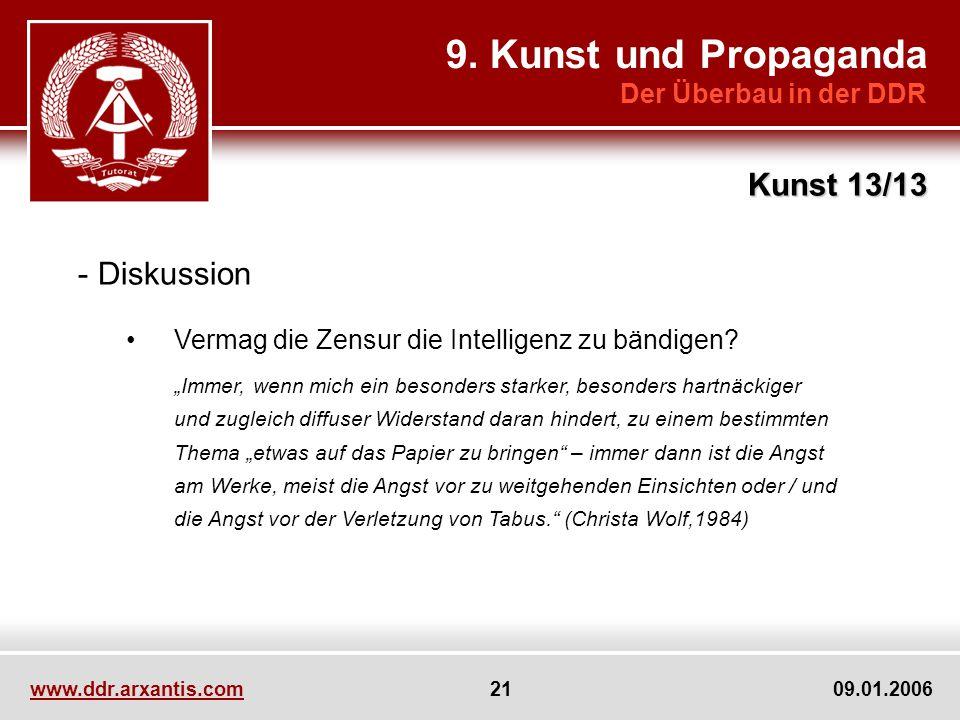 9. Kunst und Propaganda Kunst 13/13 Diskussion Der Überbau in der DDR