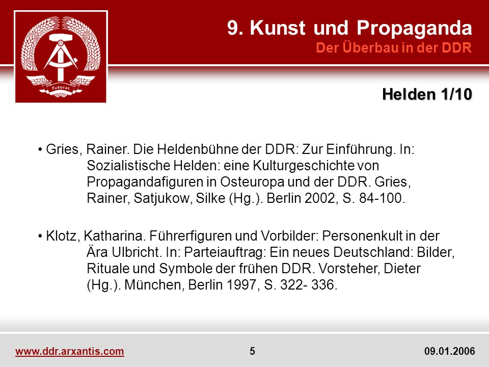 9. Kunst und Propaganda Helden 1/10 Der Überbau in der DDR
