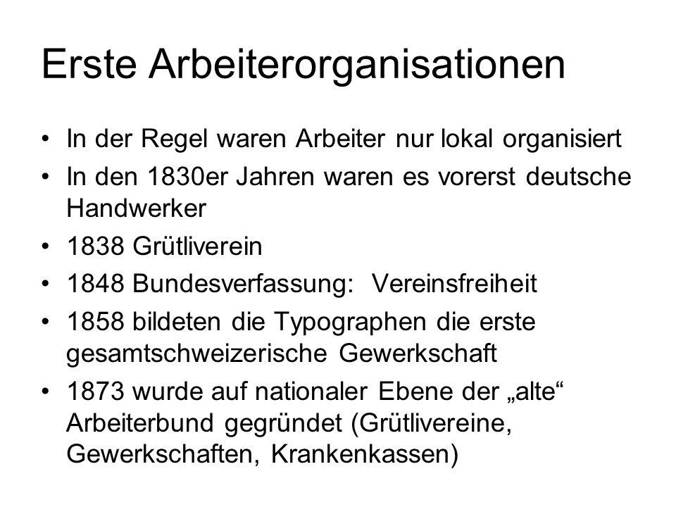 Erste Arbeiterorganisationen