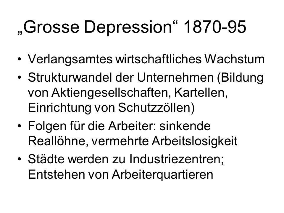"""""""Grosse Depression 1870-95 Verlangsamtes wirtschaftliches Wachstum"""