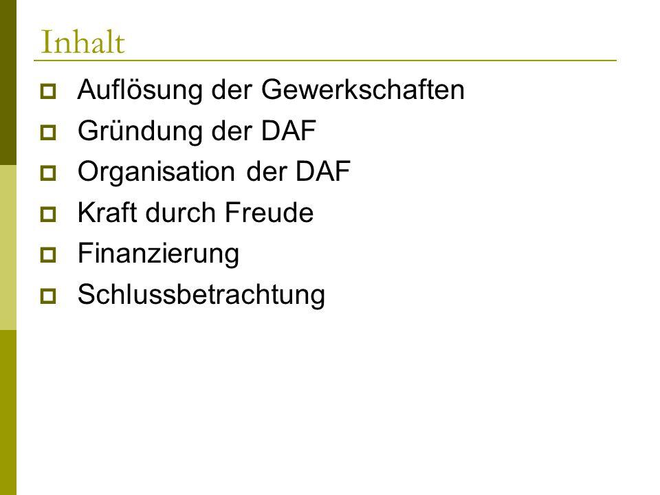 Inhalt Auflösung der Gewerkschaften Gründung der DAF