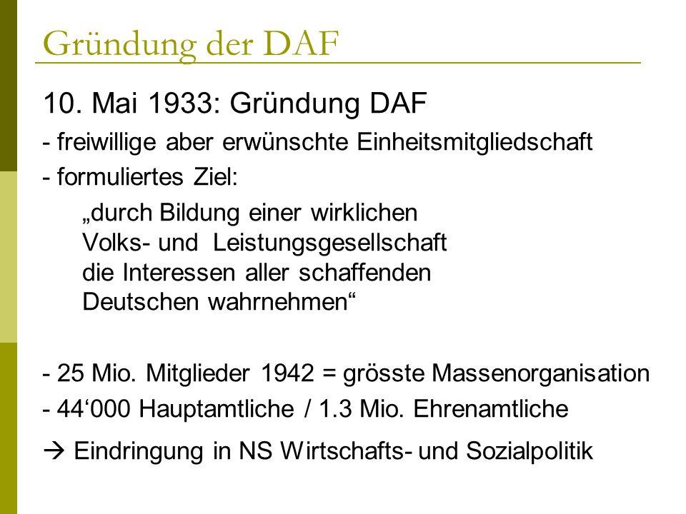 Gründung der DAF 10. Mai 1933: Gründung DAF