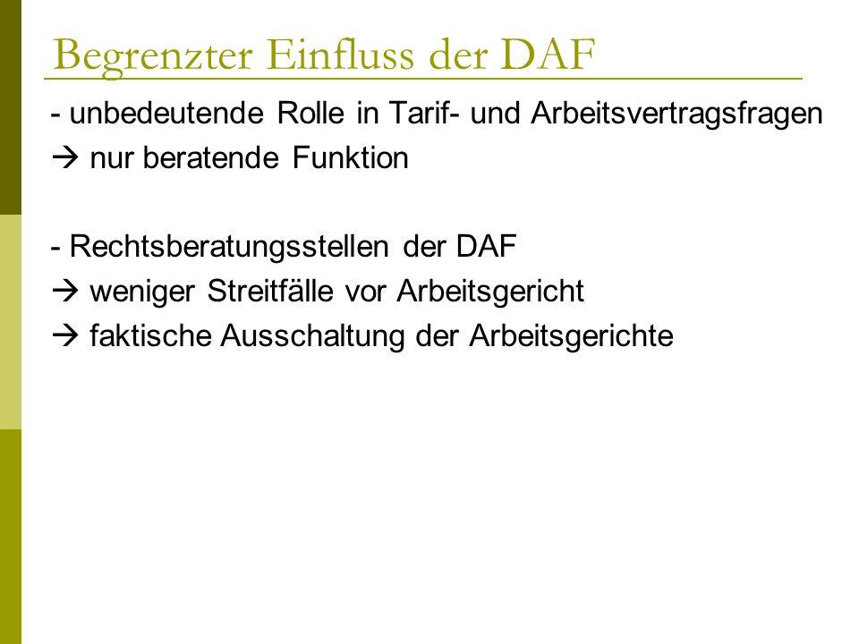 Begrenzter Einfluss der DAF