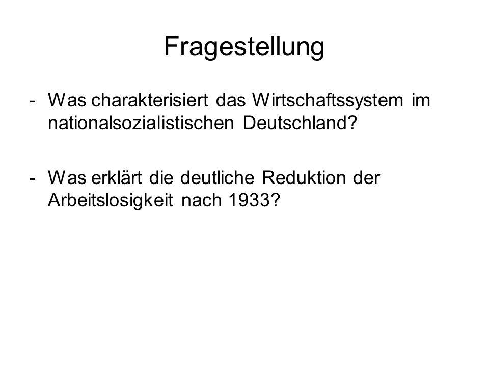 Fragestellung Was charakterisiert das Wirtschaftssystem im nationalsozialistischen Deutschland