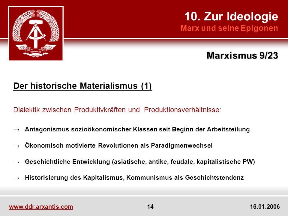 10. Zur Ideologie Marxismus 9/23 Der historische Materialismus (1)