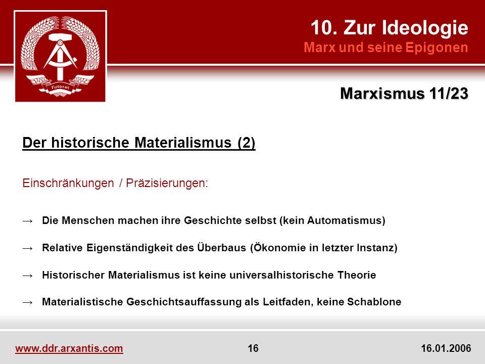 10. Zur Ideologie Marxismus 11/23 Der historische Materialismus (2)