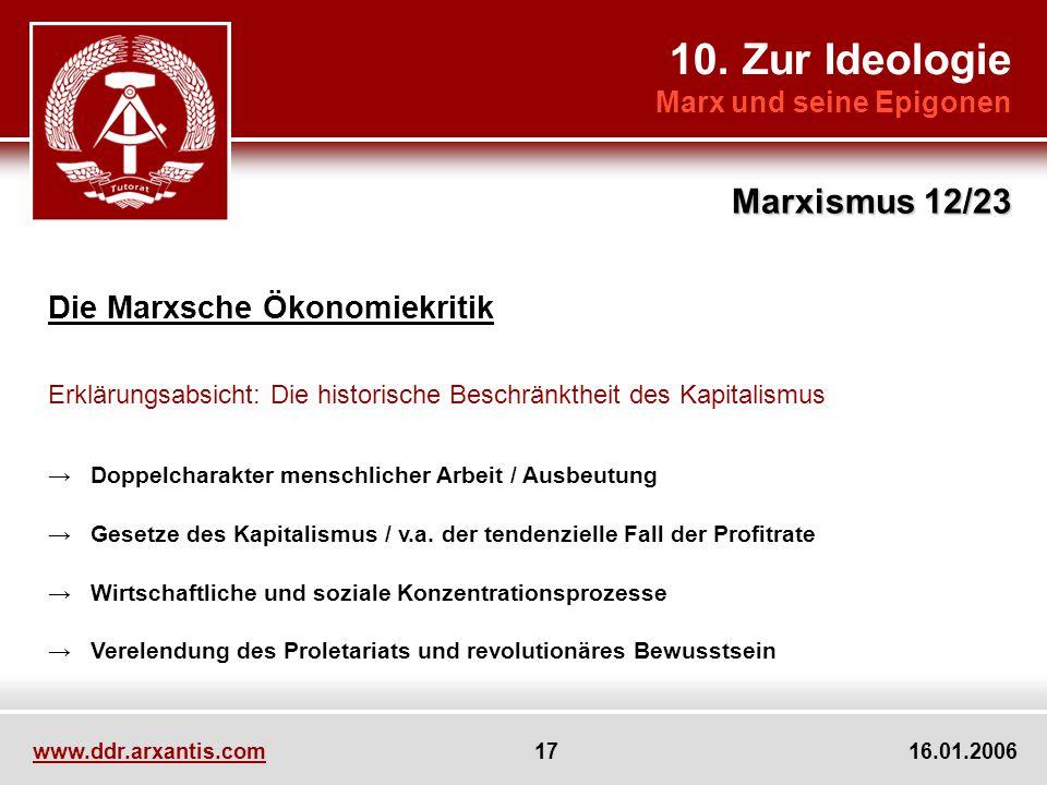 10. Zur Ideologie Marxismus 12/23 Die Marxsche Ökonomiekritik
