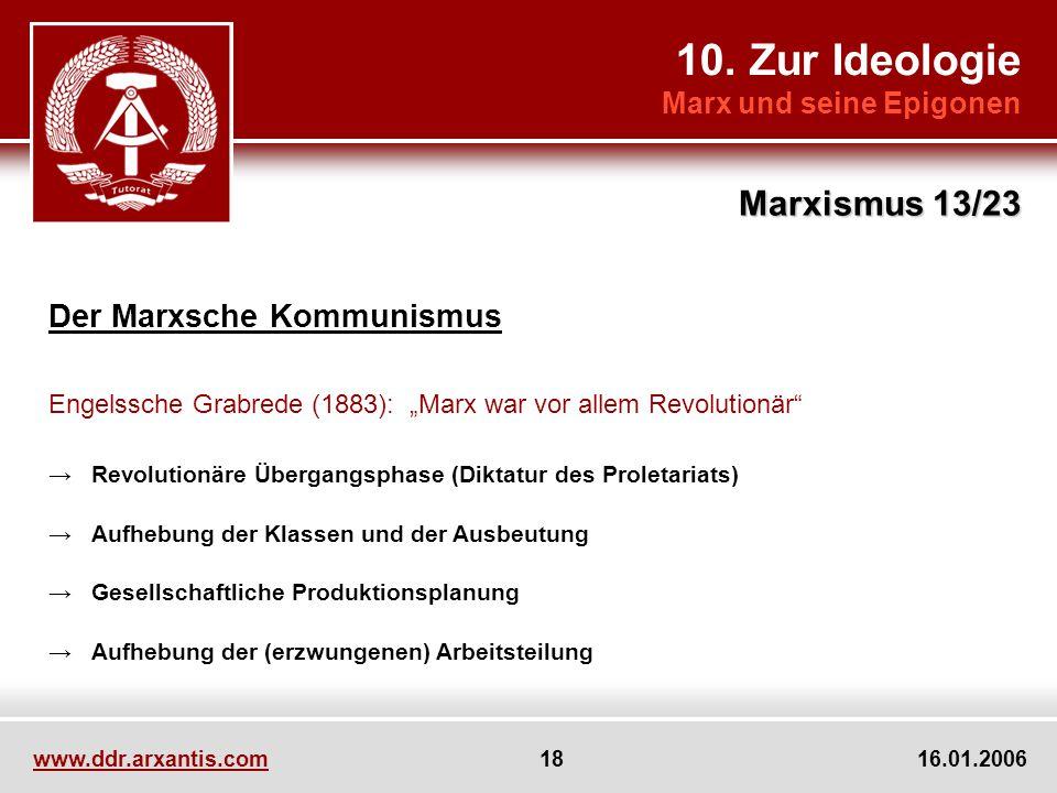 10. Zur Ideologie Marxismus 13/23 Der Marxsche Kommunismus