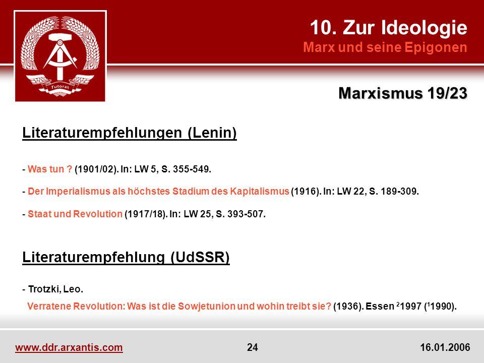 10. Zur Ideologie Marxismus 19/23 Literaturempfehlungen (Lenin)