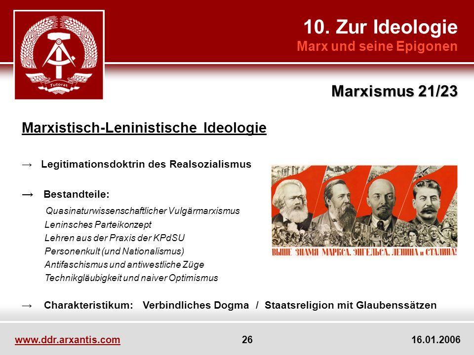 10. Zur Ideologie Marxismus 21/23 Marxistisch-Leninistische Ideologie