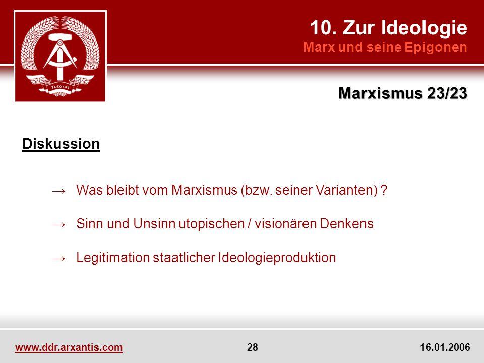 10. Zur Ideologie Marxismus 23/23 Diskussion Marx und seine Epigonen