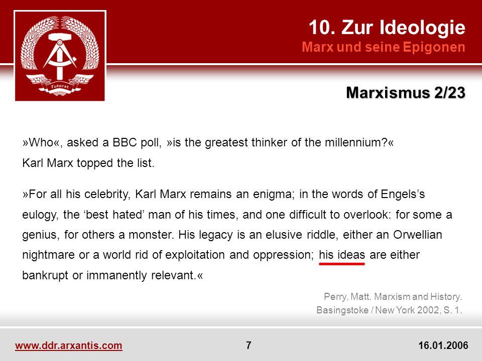 10. Zur Ideologie Marxismus 2/23 Marx und seine Epigonen