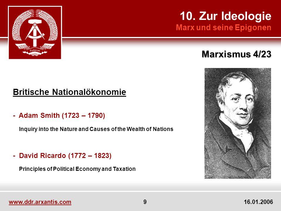 10. Zur Ideologie Marxismus 4/23 Britische Nationalökonomie