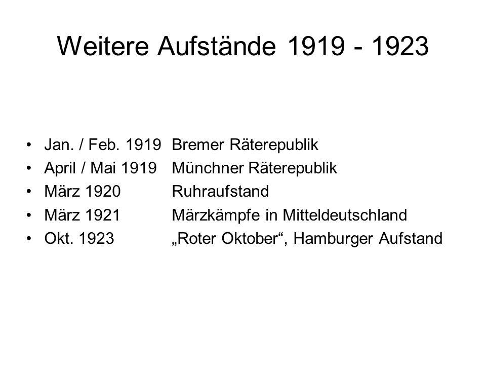 Weitere Aufstände 1919 - 1923 Jan. / Feb. 1919 Bremer Räterepublik