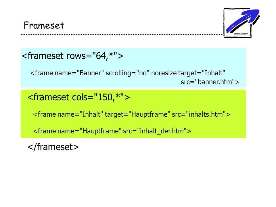 Frameset <frameset rows= 64,* >
