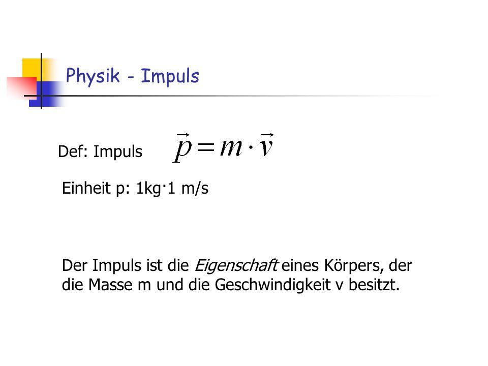 Physik - Impuls Def: Impuls Einheit p: 1kg·1 m/s