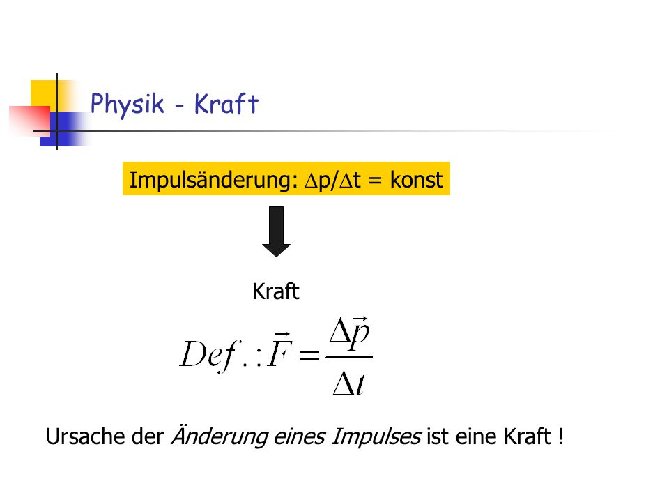 Physik - Kraft Impulsänderung: Dp/Dt = konst Kraft