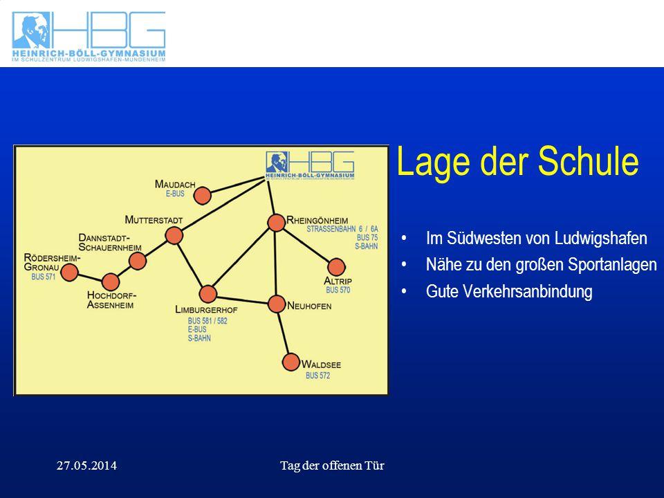 Lage der Schule Im Südwesten von Ludwigshafen