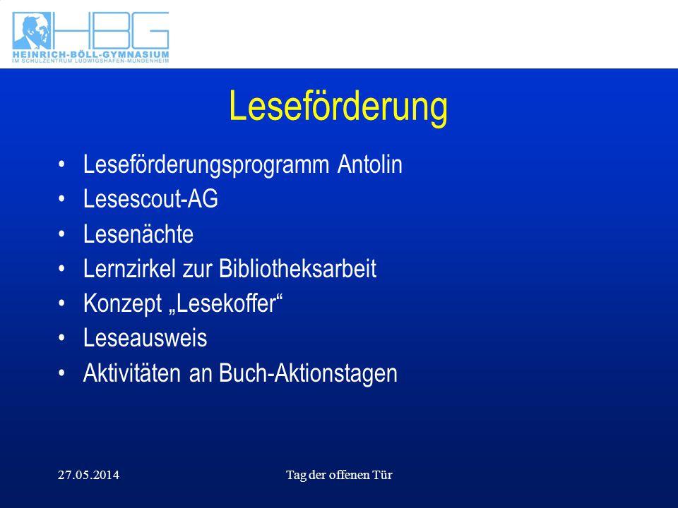 Leseförderung Leseförderungsprogramm Antolin Lesescout-AG Lesenächte